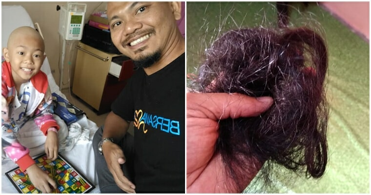 """""""I want to look just like her,"""" Says M'sian Dad Who Shaved Head to Match Daughter with Cancer - WORLD OF BUZZ"""