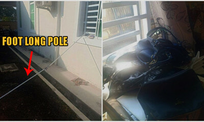 Johor Thieves Used ONLY A 12-Foot Long Pole & Hook To Steal RM3,000 From A Locked House - WORLD OF BUZZ