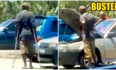 Kantoi! Suspicious Limping Beggar Apparently Own A Car And Can Stride Around It Just Fine - WORLD OF BUZZ 6