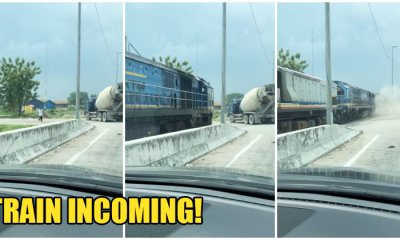 Lorry Instructed Not To Cross Klang Railway Track, Gets Hit By KTM After He Stubbornly Crossed Anyway - WORLD OF BUZZ