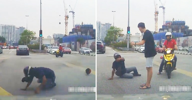 Motorcyclist Pretends to Get Hit By Car at Old Klang Road So He Can Scam Money From Driver - WORLD OF BUZZ 4
