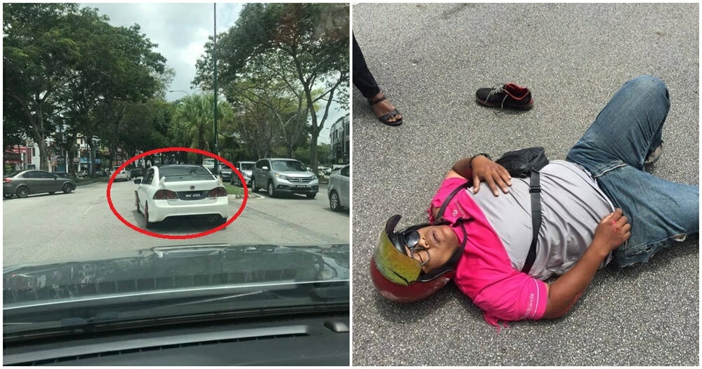 M'sian Driver Mercilessly Hits Food Delivery Rider & Drives Off, Netizens Expose His Personal Data - WORLD OF BUZZ