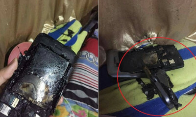 M'sian Shares How Phone Exploded When Charging Overnight, Curtain & Pillow Caught On Fire - WORLD OF BUZZ