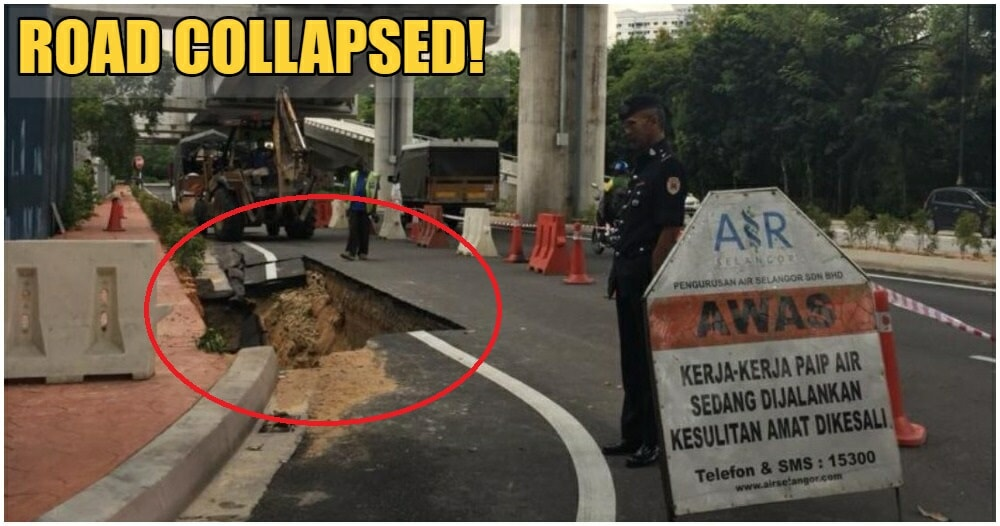 Road in Bandar Utama Collapses Because Of Burst Pipe, Power Cut For A Brief Time - WORLD OF BUZZ