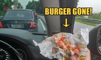 "Serdang Man Shocked After ""Hamburglars"" Snatched Burger From His Hand During Traffic Jam - WORLD OF BUZZ"