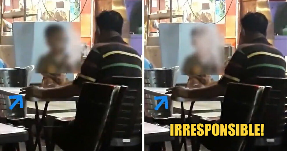 Watch: Irresponsible M'sian Father Smokes in Public, Purposely Blows the Residue to His Toddler Son - WORLD OF BUZZ