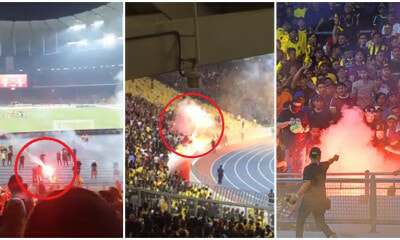 Angry Indonesian Football Fans Throw Lit Flares At M'sians After Harimau Malaya Scores 1st Goal - WORLD OF BUZZ