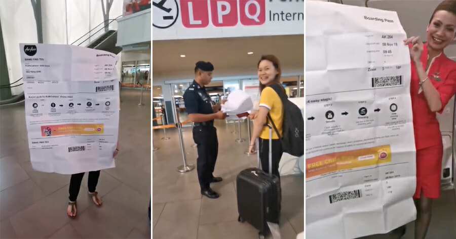 M'sian Girl Gets Hilariously Pranked By Friends Who Printed A Humongous Boarding Pass For Her - World Of Buzz