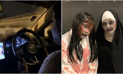 Driver Prank Calls His Wife After Picking Up Passengers Dressed As Pontianak For Halloween - WORLD OF BUZZ 1
