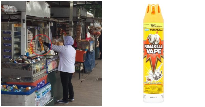 Food Truck Vendor at Johor Rest Stop Caught Spraying Cockroach Repellent Around Food Shelves - WORLD OF BUZZ