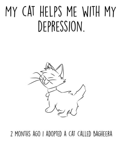 Guy Illustrates How His Adopted Cat Helped Him Deal With Depression - WORLD OF BUZZ