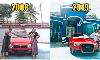 Kelantan Woman Gifts Husband Brand New AUDI After Selling Chickens For 8 Years Together - WORLD OF BUZZ