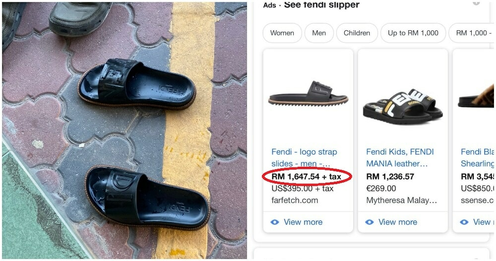 M'sian Man Needed to Pray, Hires Friend To Take Care Of His RM1k+ Fendi Slippers - WORLD OF BUZZ