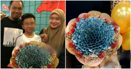 M'sian Parents Gave RM10K Cash Bouquet To Son For Achieving Great UPSR Results! - WORLD OF BUZZ