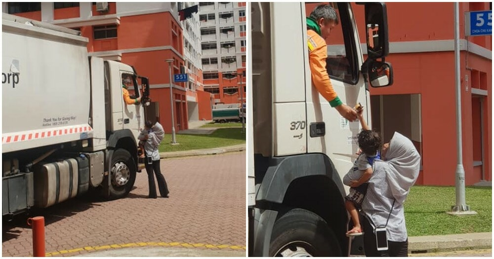 Mum Encourages Child To Give Chocolates To Utilities Truck Driver, Faith In Humanity Restored! - WORLD OF BUZZ