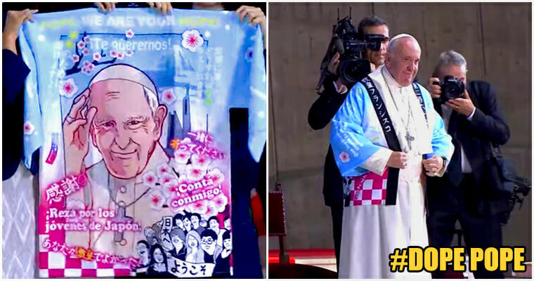 Pope Wears Cool Traditional Japanese Coat With An Anime Illustration Of Himself To Invoke Unity With Japan - WORLD OF BUZZ