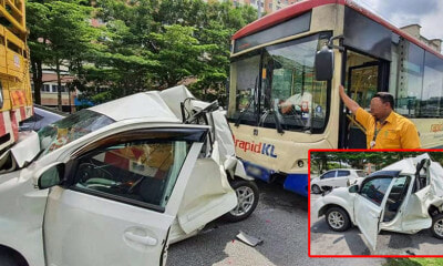 Myvi Crushed to Half Its Size in Horrific Accident With RapidKL Bus, Suspe - WORLD OF BUZZ