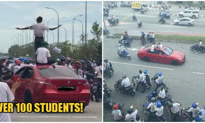 SPM Students Drive BMW & Ride Motorbikes Recklessly In Melaka To Celebrate End of Exams - WORLD OF BUZZ
