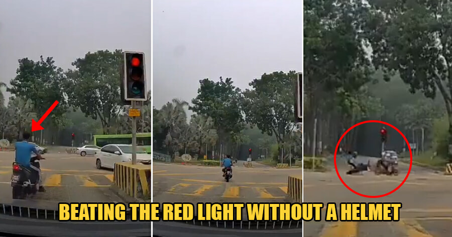 Video: M'sian Man Who Beat the Red Light With NO Helmet On Gets Into Horrific Accident - WORLD OF BUZZ