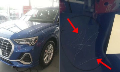 3yo Girls Scratches 10 Audi Cars in Showroom With Stone When Parents Not Paying Attention - WORLD OF BUZZ