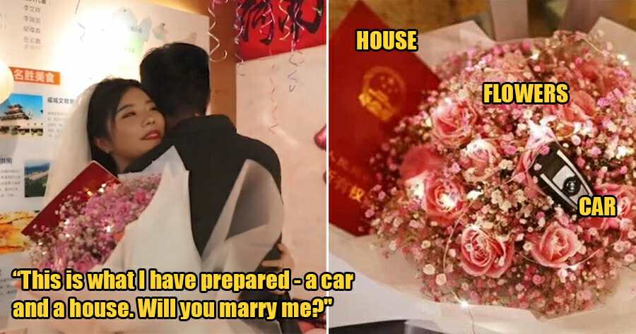24yo Woman Proposes to BF With a Car, a House & Flowers on Their One-Year Anniversary - WORLD OF BUZZ