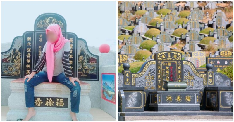 Girl Get Tired Of Her Usual Poses & Backdrops, Takes Photo Of Herself Sitting On a Chinese Grave - WORLD OF BUZZ