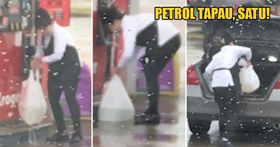 Watch: Woman Caught Tapau-ing Petrol in Plastic Bag & Putting It In Car Boot - WORLD OF BUZZ