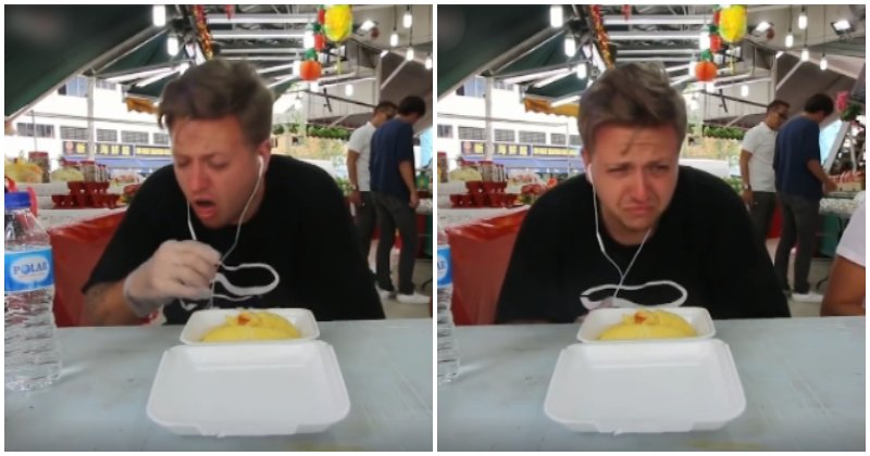 Angmoh Guy Tries Durian For The First Time, Cries Because He Cannot Handle The 'Odour' - WORLD OF BUZZ