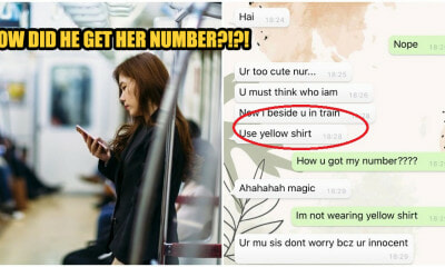 Creepy Guy Texts M'sian Girl After Sitting Next to Her on Train, But She Didn't Share Her Number - WORLD OF BUZZ