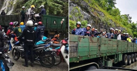 Kind M'sian Trailer Drivers Keep Motorcyclists Safe By Fetching Them Over Flash Flood Area - WORLD OF BUZZ 2