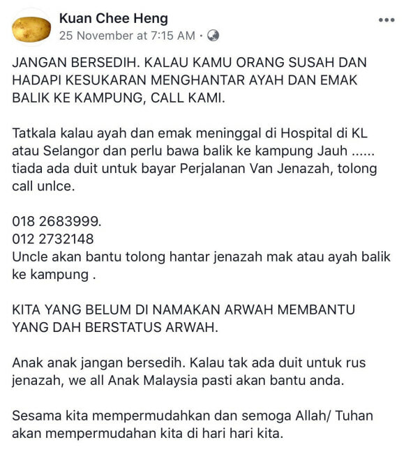 Kind M'sian Uncle Offers Help To Families Who Can't Afford Funerary Costs Regardless of Race - WORLD OF BUZZ 2