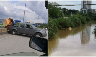 Man Conveniently Dumps A Huge Box Into Sungai Langat, Oblivious To The Negative Impact It May Cause! - World Of Buzz 1