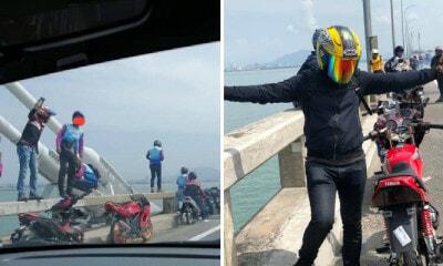 Mat Rempits Stop Dangerously at Penang Bridge & Climb It To Take Photos - WORLD OF BUZZ 1