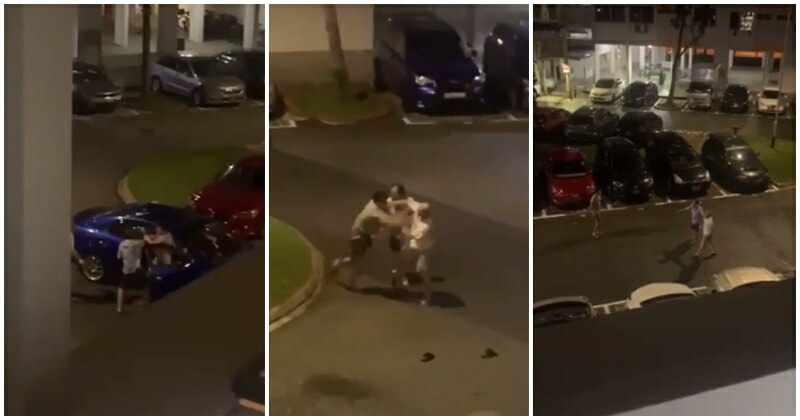 Must Watch: Three Men Involved In A Car Park Scuffle In Singapore Parking Lot Goes Viral On Social Media - WORLD OF BUZZ
