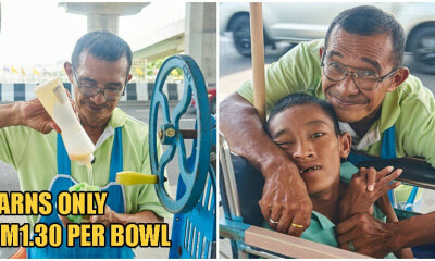 Old Uncle Walks 6km Daily To Sell Shaved Ice For RM1.30 To Care For His Disabled Son - WORLD OF BUZZ 8