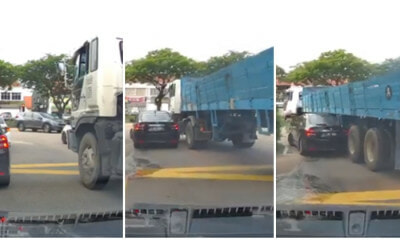 Passenger Vehicle Gets Hit With Trailer At Junction After Failing To See Vehicle In Its Blindspot - WORLD OF BUZZ 5
