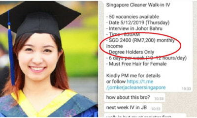 Singapore Cleaner Job Requires Degree Holders Only And Has A Salary Of RM7,200 - WORLD OF BUZZ