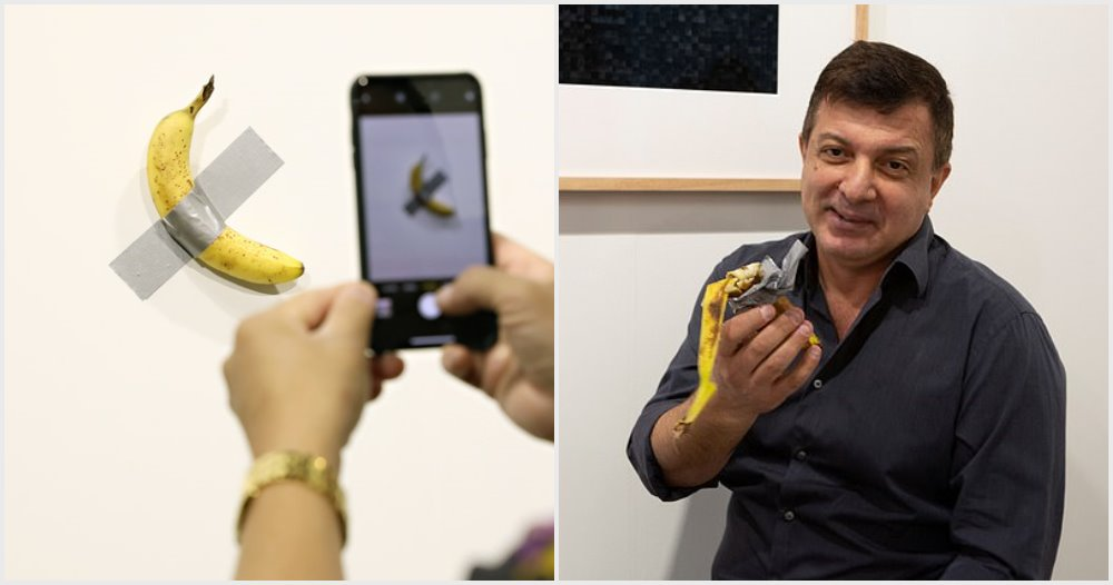 RM500k Art Installation Features a Banana Taped To The Wall, Eaten By Hungry Man - WORLD OF BUZZ 3
