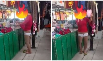 Video: Aunty Tries On Underwear At Market, Seller Wants To Give Her 100 Pieces Of Underwear - WORLD OF BUZZ 3