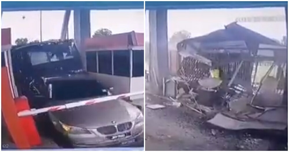 Watch: Lorry Rips Apart Entire Toll Booth & Rams Into BMW After Speeding Causes Him To Lose Control Over Brakes - WORLD OF BUZZ 3