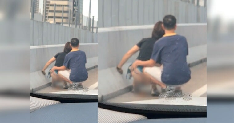 Woman Caught POOPING by The Roadside of Johor-Singapore Highway Because of Traffic Jam - WORLD OF BUZZ