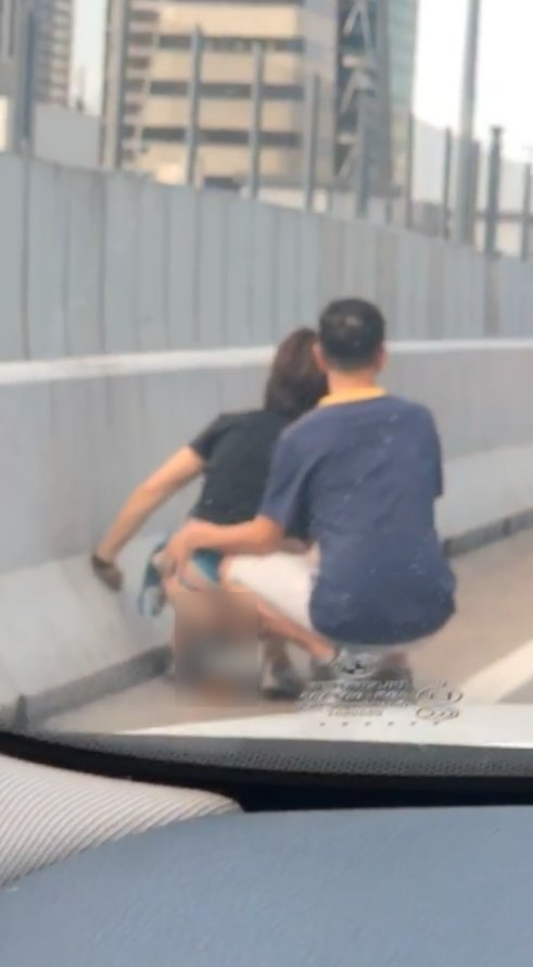 Woman Caught Taking a Dump at The Roadside of Johor Highway Because of The Traffic Jam - WORLD OF BUZZ 1