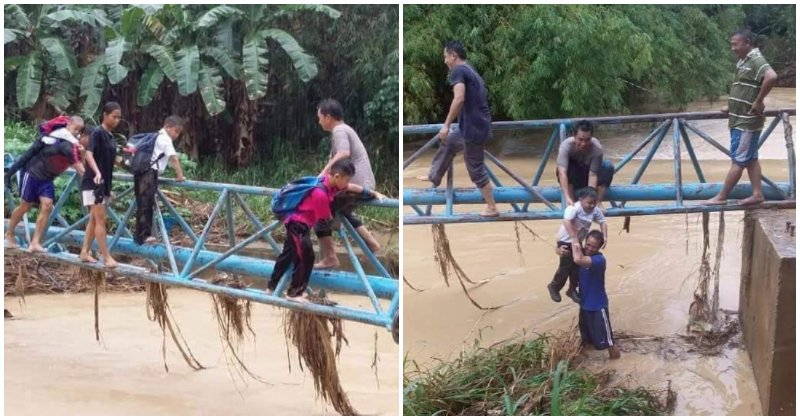 Students In Sabah Have To Use Pipeline To Cross River To Get To & From School - World Of Buzz