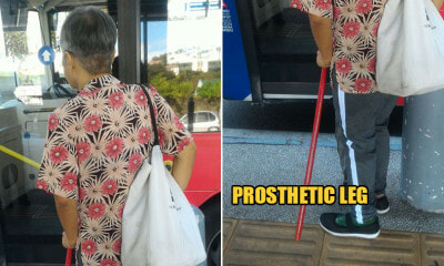 Old M'sian Woman ith Prosthetic Leg Was Treated Poorly by Bus Driver & Toilet Cleaner - WORLD OF BUZZ