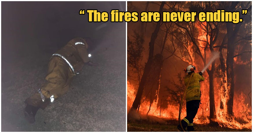 Aussie Fireman Naps From Exhaustion After 12 HOURS of Fighting Fires For 10 Days Straight - WORLD OF BUZZ