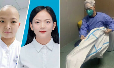30yo Wuhan Nurse Shaves Her Head to Prevent Cross-Infection & Save Time While - WORLD OF BUZZ