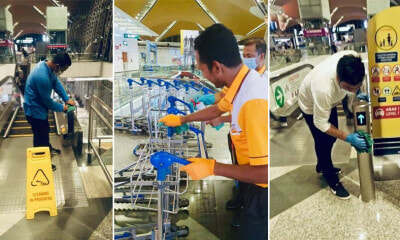 Real-Life Heroes: M'sian Cleaners Work Tirelessly to Wipe Surfaces at Airports to Keep Viruses at Bay - WORLD OF BUZZ