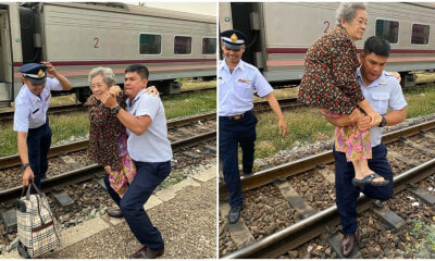 Kind Train Conductor Heroically Carries Elderly Woman Off Train As She Couldn't Get Down Steps - WORLD OF BUZZ 4