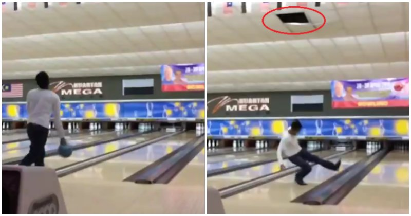 Kuantan Man Accidentally Throws Bowling Ball Through Alley's Ceiling Before Slipping On Lane Floor - WORLD OF BUZZ