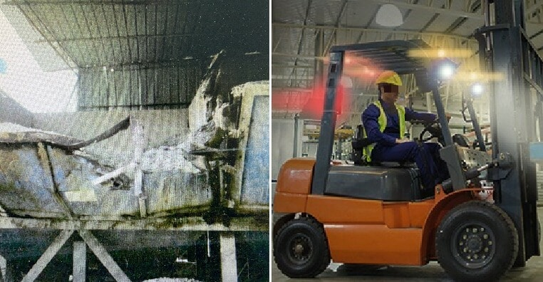 Man Gets Angry His Colleagues Didn't Jio Him To Eat, Rams Forklift Into Office - WORLD OF BUZZ 2